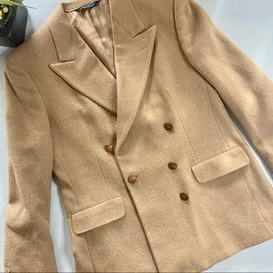 Vintage Burberry Wool Tan Blazer Jacket w/ Buttons